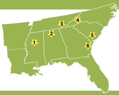 Map of 2017 Southeast Sustainable Communities Fund (SSCF) grantees