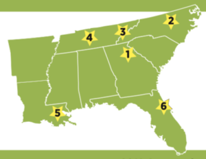 Map of the Southeast Sustainable Communities Fund (SSCF) grantees