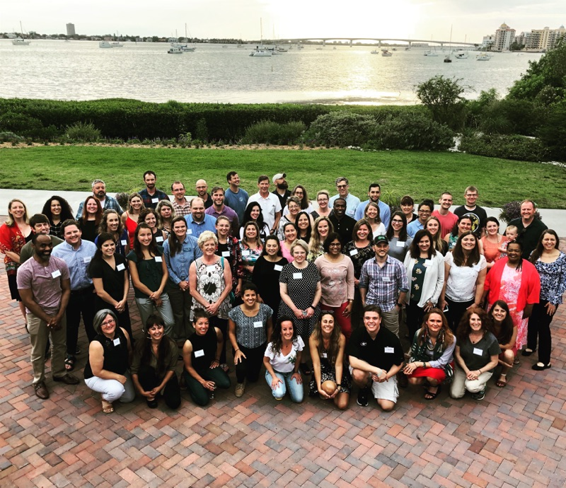 A group photo of sustainability professionals and officers at the 2019 SSDN Annual Meeting in Sarasota, Florida.